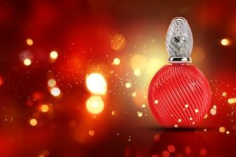 Frasco de perfume rojo
