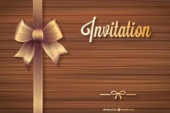 Plantilla de invitación con textura de madera
