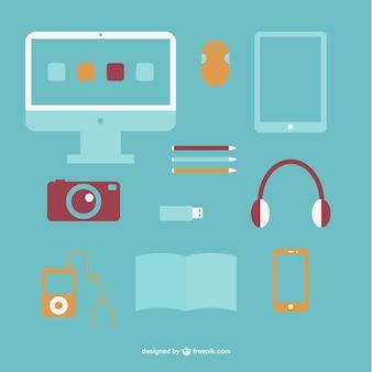 Diseño plano de utensilios de oficina