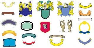Free Vector adornado con banderas Escudo Heráldico