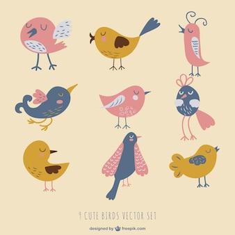Dibujos vintage de pájaros