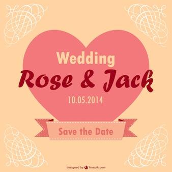 Plantilla de invitación de boda vintage