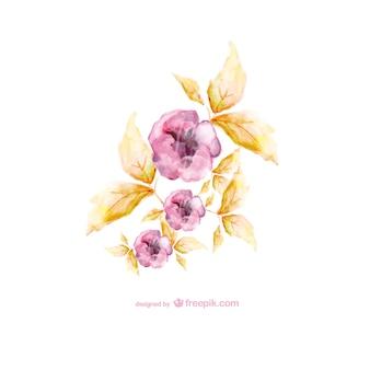 Flores de acuarela en dos colores