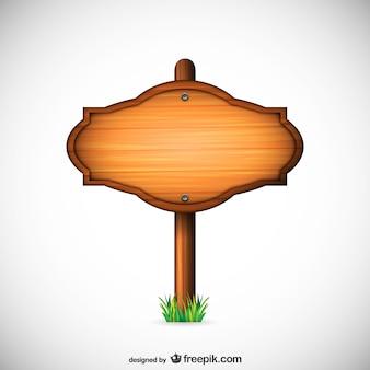 Vector de señal de madera ovalada