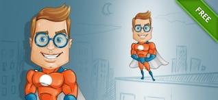 Friki superhéroe de dibujos animados vector inteligente