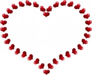 frontera en forma de corazón rojo con pequeños corazones