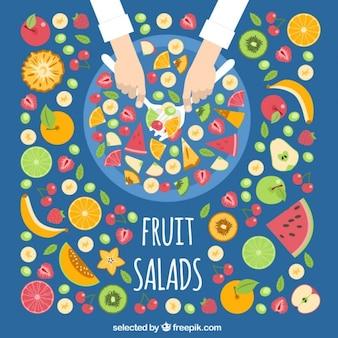 Frutas ensalada en vista superior