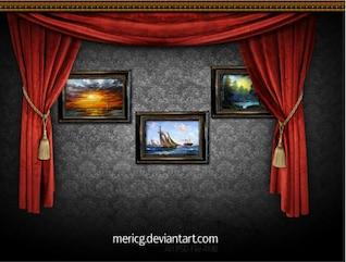 galería de arte de lujo pantalla psd