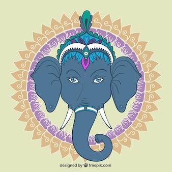 Ganesha con el círculo ornamental