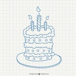 Garabato de tarta de cumpleaños