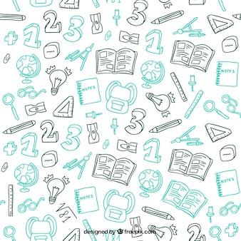 Garabatos de materiales escolares Dibujado a mano