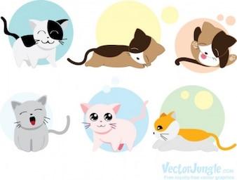 Gatos lindos que duermen vector animales