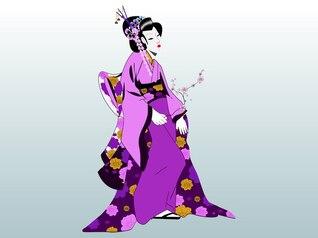 Geisha mujer compone vector