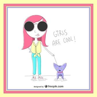 Ilustración de chica a la moda