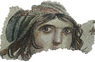 gitana arqueología mosaico ojos retrato chica cara