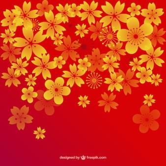 Flores del cerezo doradas