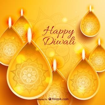 Tarjeta de oro de feliz Diwali