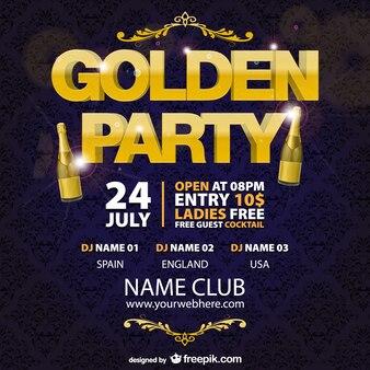 Plantilla cartel de fiesta con letras doradas