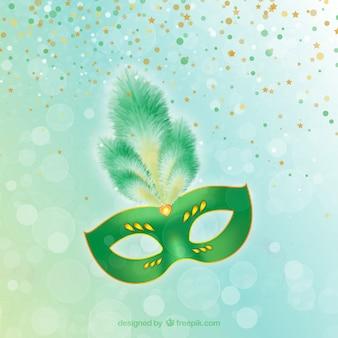 Máginifica máscara de carnaval en tonos verdes