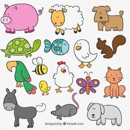Graciosos animales de granja dibujados a mano