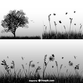 silueta de la hierba