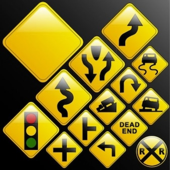 Gratis misceláneos señales de tráfico urbano vector flecha negro amarillo brillante inteligente