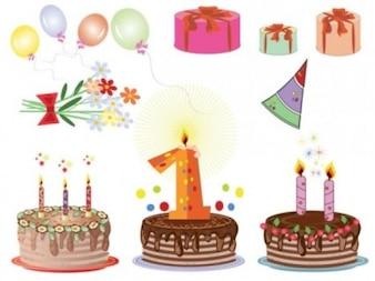 Gratis tarjetas de cumpleaños de la historieta del vector pastel suaves lindos regalos hermosos marrón chocolate rosa verde flores anaranjadas púrpuras encantadoras