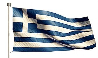 Grecia Bandera Nacional Aislado Fondo Blanco 3D