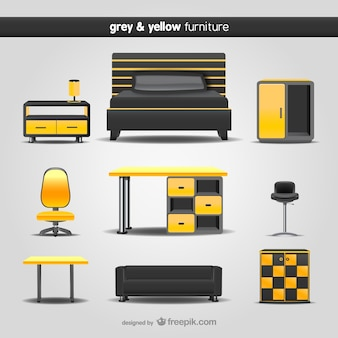 Muebles de color gris y amarillo