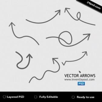 Flechas de color gris con diferentes formas