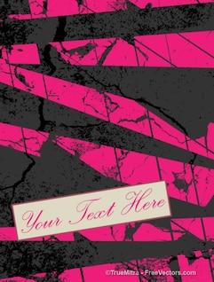 Grunge banner con rayas de color rosa