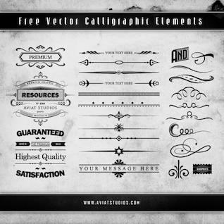 Grunge elementos decorativos caligráficas