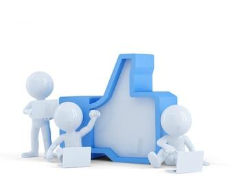 Grupo de personas con símbolo de Like. Concepto de red social