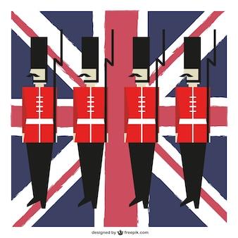 Guardias y bandera del Reino Unido