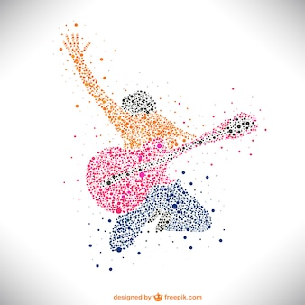 Guitarrista con puntos de colores