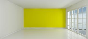 Habitación con una pared amarilla