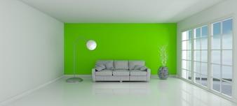 Habitación con una pared verde y un sofá