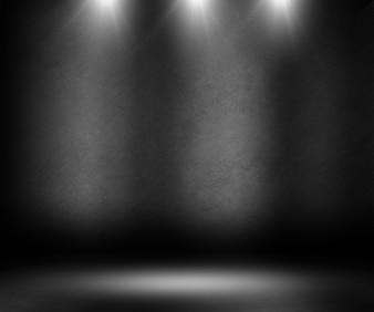 Habitación negra con luces