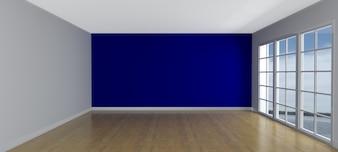 Habitación vacía con una pared azul