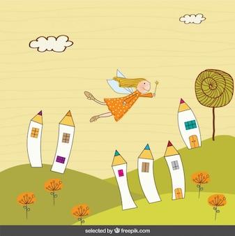 Hada volando en paisaje de fantasía