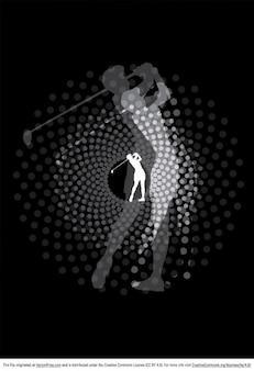 Medios tonos silueta golfista con puntos