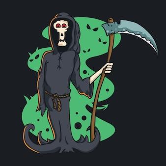 Halloween Reaper de muerte con guadaña