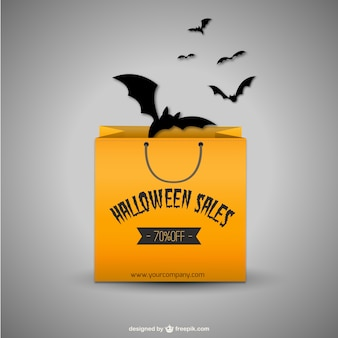 Vector rebajas de Halloween con bolsa de la compra