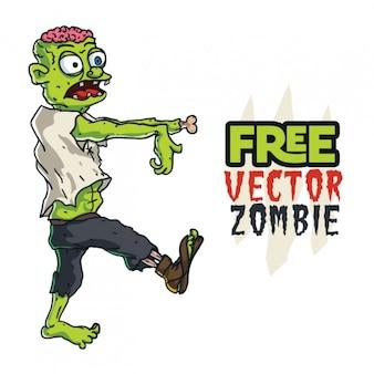 Carácter halloween zombi caminando