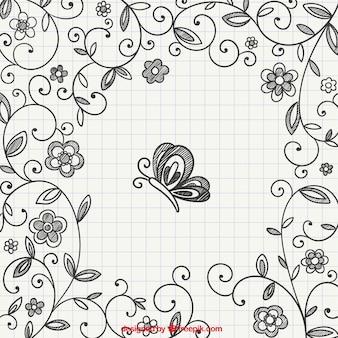 Dibujado a mano adornos florales con mariposa