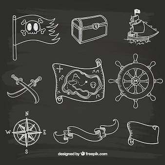 Iconos marineros dibujados a mano