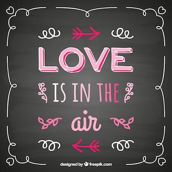 Cita del amor manuscrita en la pizarra
