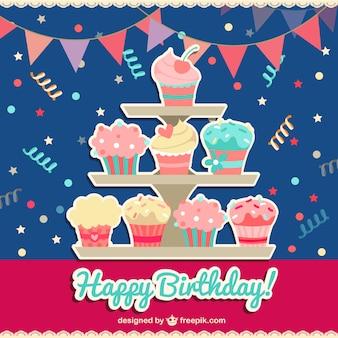 Tarjeta de feliz cumpleaños con cupcakes
