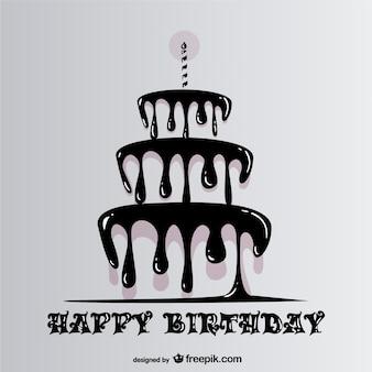 Feliz cumpleaños con tarta goteando