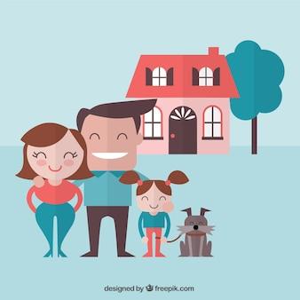 Familia feliz con un perro